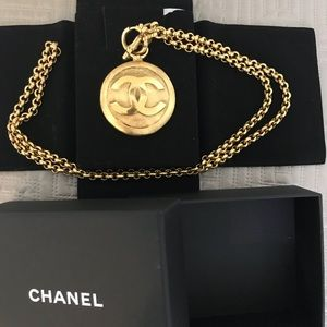 Chanel 1990's Gold Medallion Mirror Chain Necklace